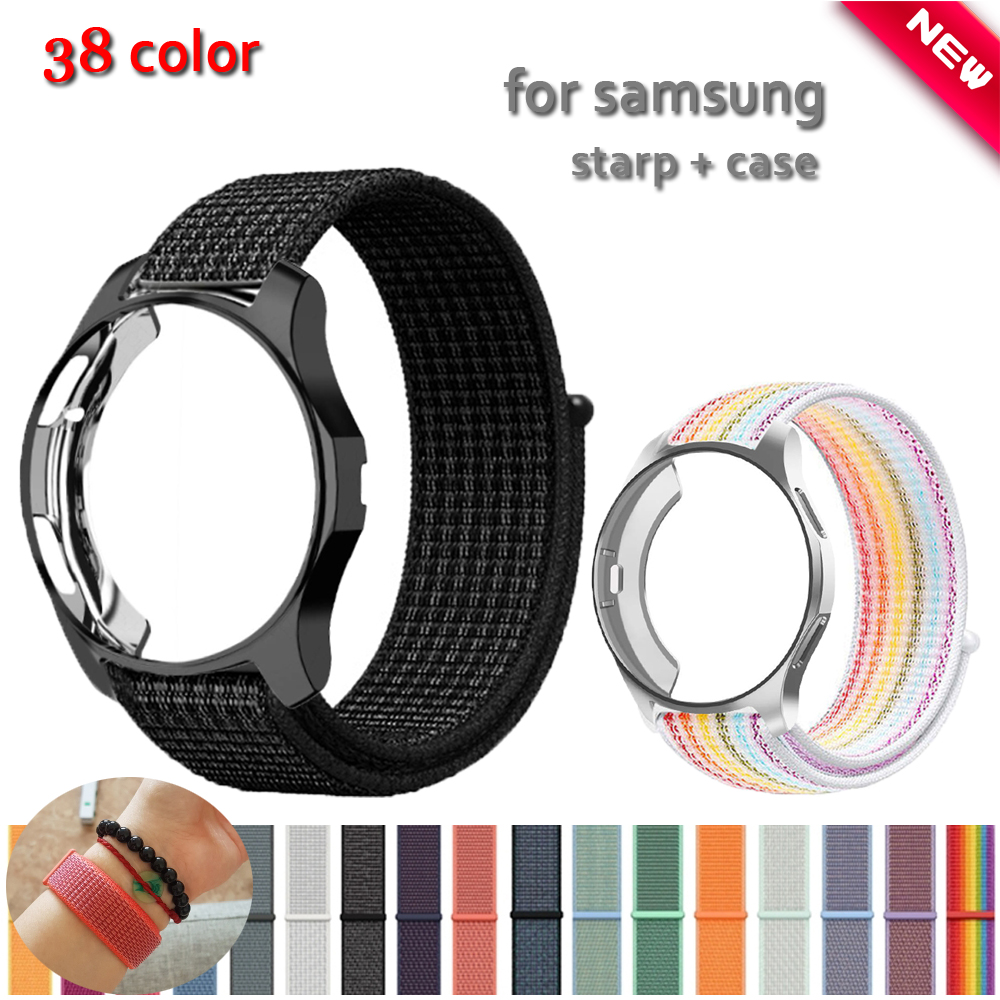 20mm 22mm Strap+Case For Samsung  Gear S3 Frontier Band Galaxy Watch 46mm 42mm Sport Nylon Strap Cover Bracelet Belt Accessories
