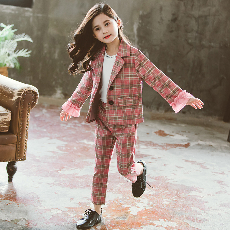 Image 5 - Teenage Girls Clothing Set Autumn Girls Plaid Suit Jackets +Pants School Tracksuit Girls Clothes Children Clothes 8 10 Year-in Clothing Sets from Mother & Kids