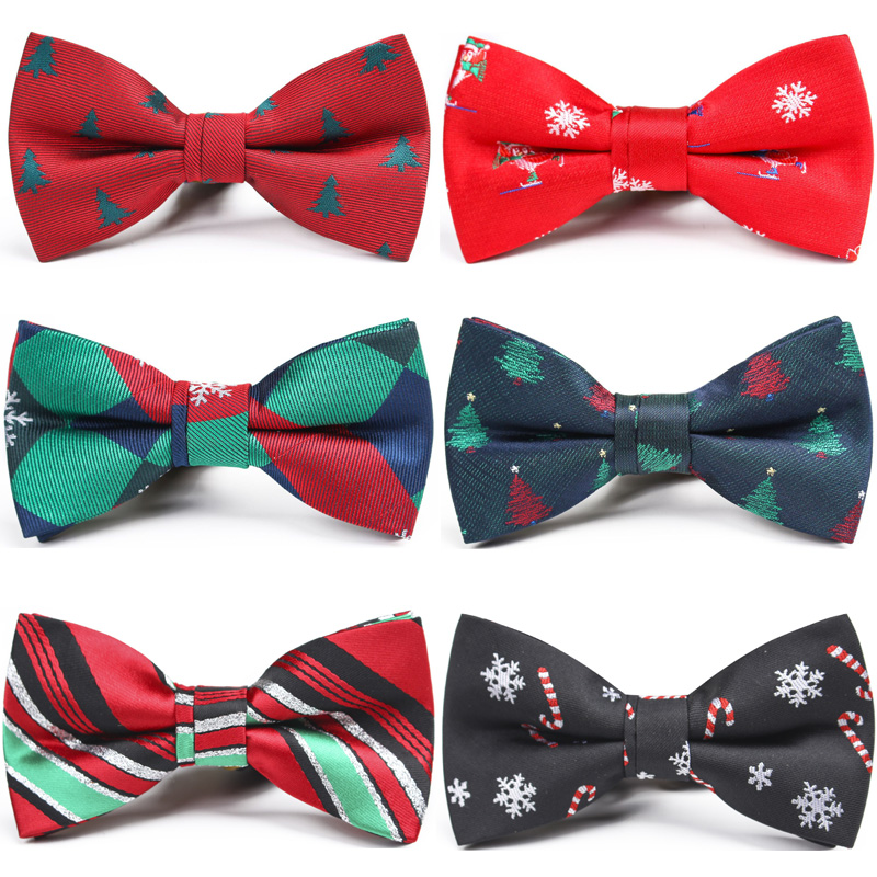Christmas Bow Tie For Boy Girl Kids Gifts Red Green Children Snowflake Tree Xmas Pattern Bowtie Santa Festival Party Accessories