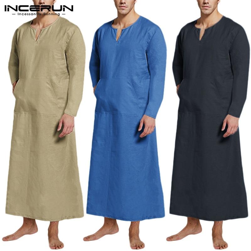 Autumn Men Cotton Robes Homewear Solid Long Sleeve Bathrobes V Neck Pockets Sleepwear Retro Loose  Men Nightgown INCERUN S-5XL 7