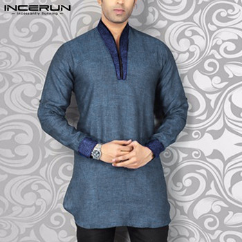INCERUN Men Shirt Streetwear V Neck Long Sleeve Patchwork Fitness Vintage Casual Shirts Men Indian Clothes Kurta Plus Size 2020