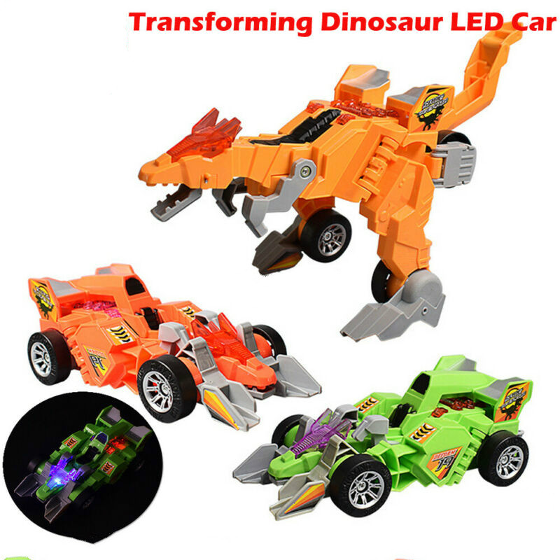 Transforming Dinosaur LED Car Toys With Light Sound Electric toy Kids M3C9
