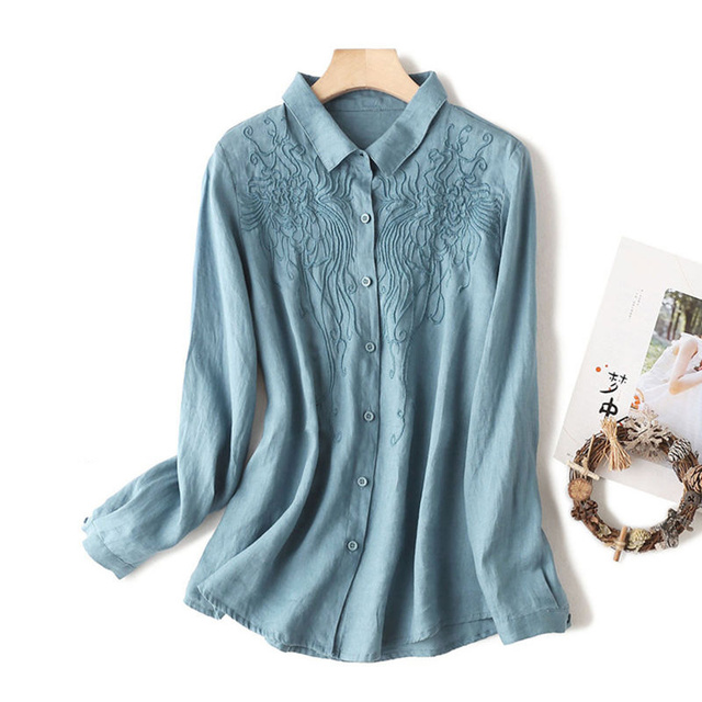 100% Cotton Women Casual Blouses Shirts New 2020 Spring Korean Style Floral Embroidery Ladies Elegant Tops Shirts Plus Size P280 1