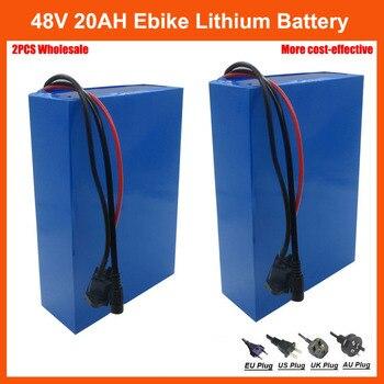 2 uds venta al por mayor 48 V batería de bicicleta eléctrica 48 V 20AH de iones de litio batería de Scooter con 30A BMS y 54,6 V 2A cargador envío gratis