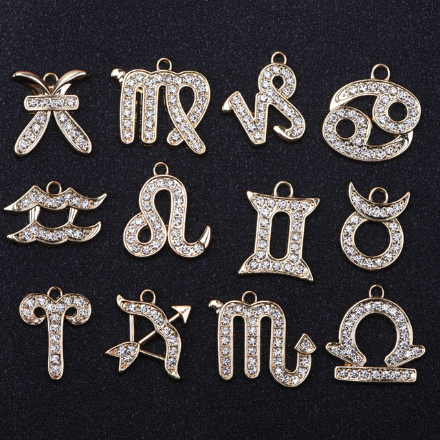 1PCS Zodiac Signs Metal Chrams JIBZ Accessories Decoration Golden Silver Constellations Croc Shoe Buckle Charm for Kind Gift