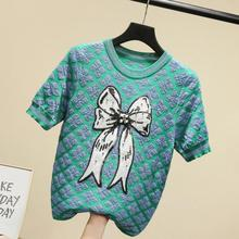 2021 Spring And Summer New Arrival Handmade Sequins Beading Bow Sweater Women Short Sleeve Knitted Pullover Ins Modis Tops