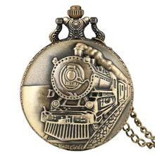 New Arrival Retro Antique Pocket Watch Bronze Steam Train Carving with Pendant Chain Fob Watches Best Gift for Women Men zakhorl fashion mechanical pocket watch horse copper antique classic bronze man fob watches father gift hour chain hour good quality new