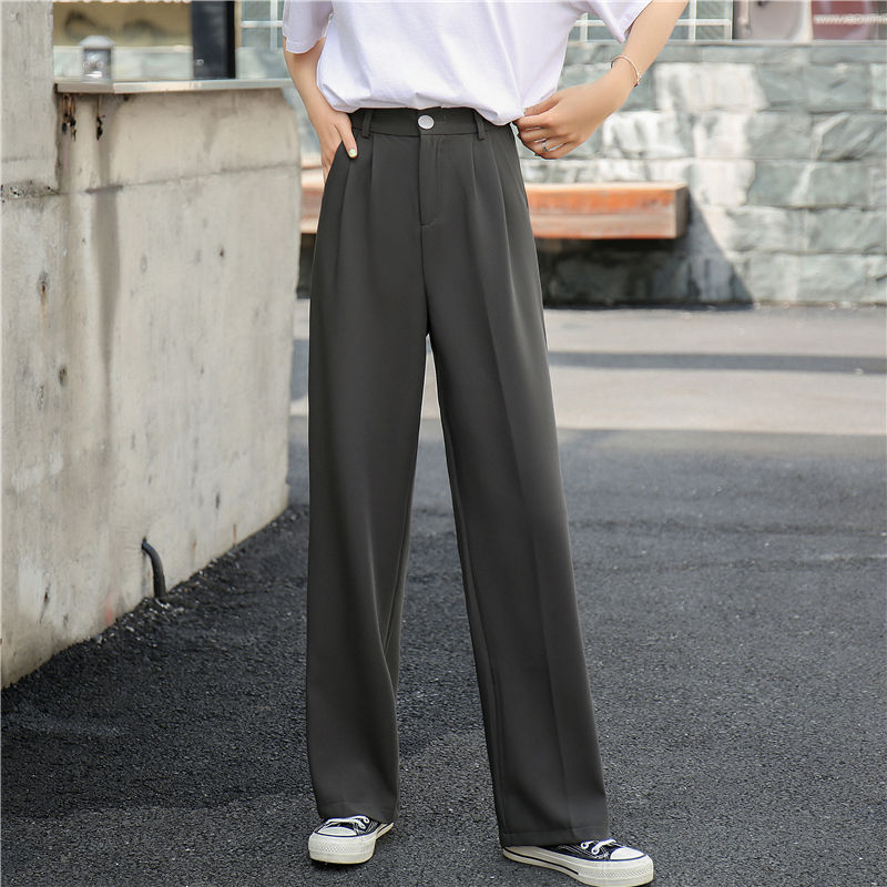 Solid Suit Pants Women High Waist Elegant Office Ladies Pants Fashion Loose Straight Bottoms Casual Pockets Full-length Trousers