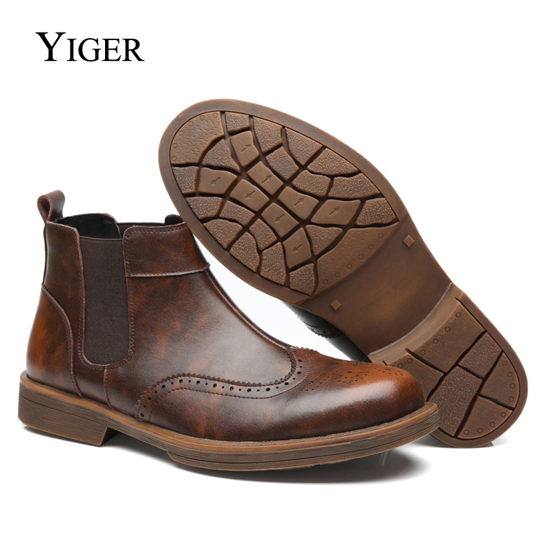 YIGER New Men Martins Boots Leather Slip-on Big Size Ankle Boots Handmade Motorcycle Boots Western Boots Chelsea Boots   151