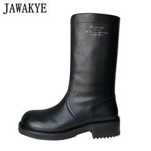 Mid-Calf-Boots Western Women Winter Genuine-Leather Low-Heel Black Ladies for Cowboy