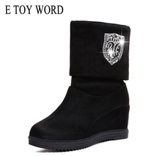 E TOY WORD Spring Autumn Women Shoes Height Increasing Mid-Calf Boots Woman 2019 new ladies boots wild plus velvet stretch boots new fashion autumn winter mid calf boots for women height increasing wedges shoes beige black boots white pearls beaded boots