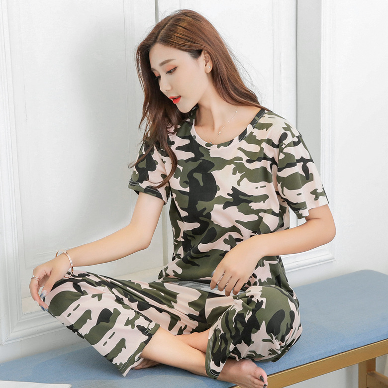Summer Pajamas WOMEN'S Short Sleeved Trousers Set Camouflage M-4xl (13-16 Yuan) 110 Grams 2019 New Style Now