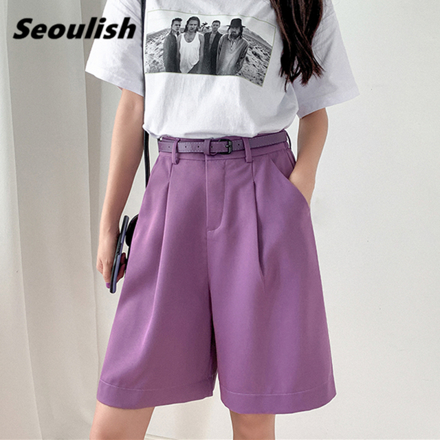 Seoulish 2021 New Summer Women's Shorts with Belted Solid High Waist Office Wide Leg Shorts Elegant Purple Loose Trousers Pocket 2