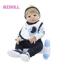 55 CM Very Soft Silicone Body Reborn Boy Doll Lifelike Vinyl Newborn Babies Bebe Boneca Child Play House Bedtime Toy