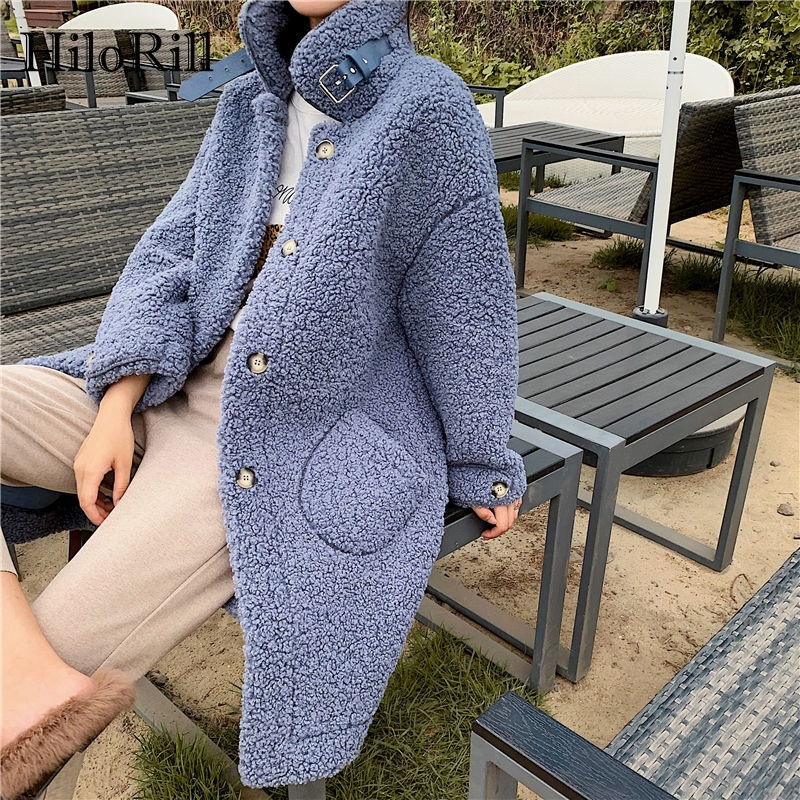Women Faux Fur Coat 2019 Winter Warm Teddy Coat Fashion Long Parka Lamb Fur Jacket Ladies Outwear Coat