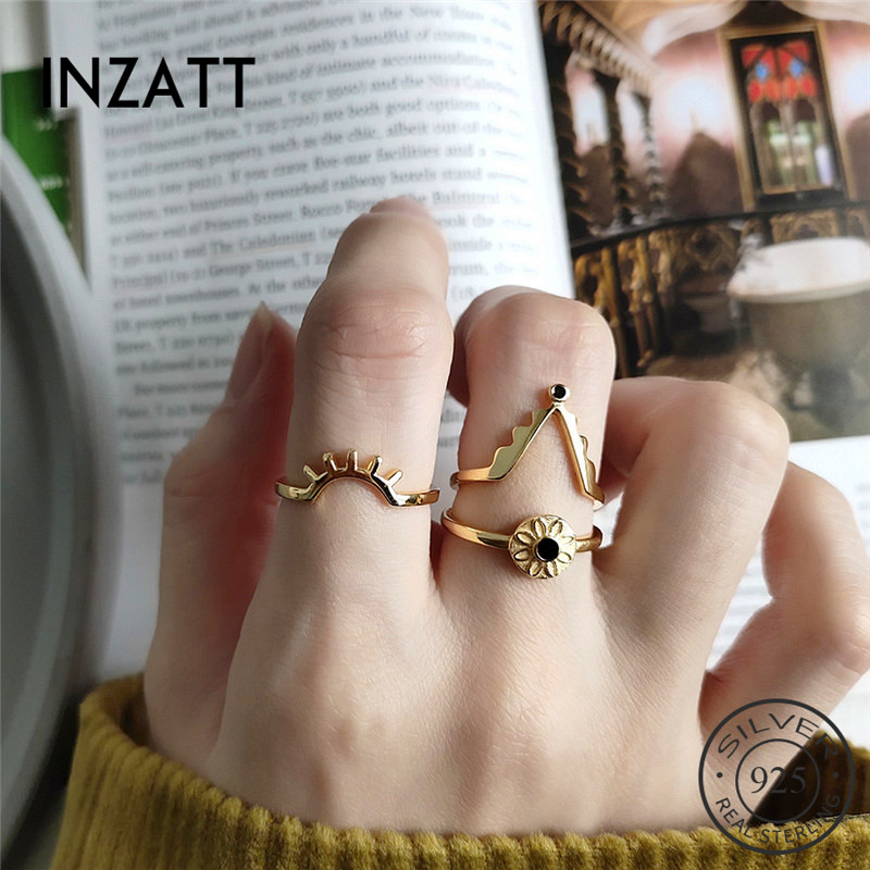 INZATT Real 925 Sterling Silver Geometric Ring For Fashion Women Party Punk Fine Jewelry Minimalist Accessories 2019 Gift