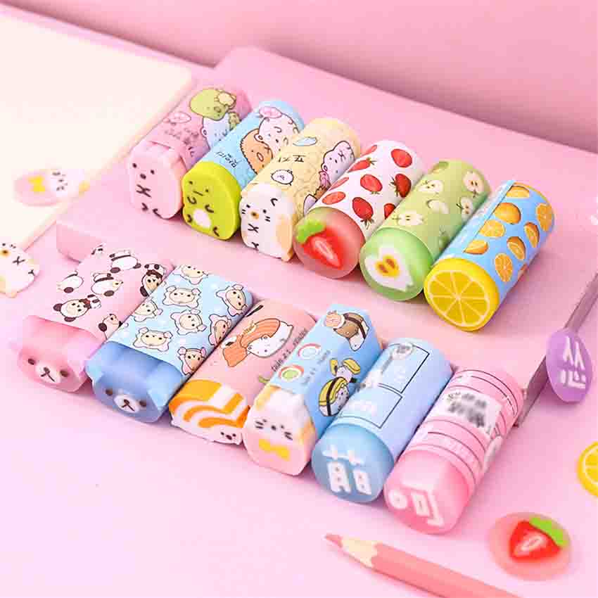 1PC Creative Colored Rubber Erasers Kawaii Food Bear Pencil Erasers For Kids Writing Drawing Eraser Office Stationery Supplies