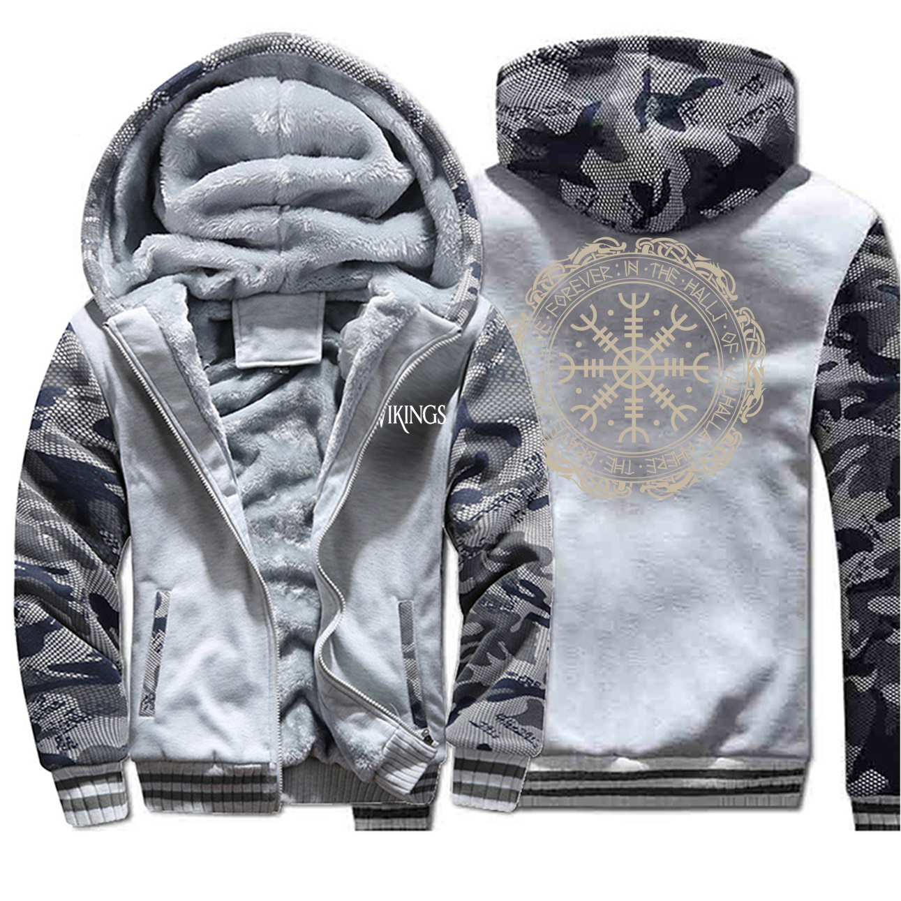 2019 Winter Thick Mens Hoodies Viking Printing Male Jacket Hip Hop Brand Outwear Hot Sale Camouflage Sleeve Men's Jacket Casual 3