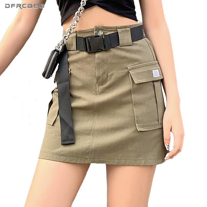 High Waist Casual Mini Cargo Pencil Skirt Summer 2020 Fashion Streetwear Safair Style Short Skirts With Pocket Saia Army Green