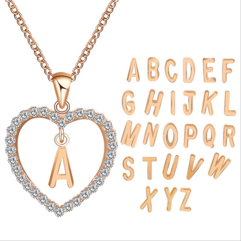 Heart Letter Necklace Initial Choker Chains Collier Products Concise Inlaid Peach Love Manufacturers I Love You Chain Necklace