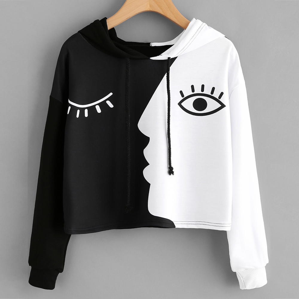 Sweatshirt Women Ladies Autumn Casual Hooded Long Sleeve Crop Patchwork Blouse Pullover Short Streetwear Tops Sweatshirt #45