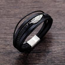 Fashion Feather Multi-Circle Leather Bracelet Men Trendy Braided Male Hot Sale Accessory