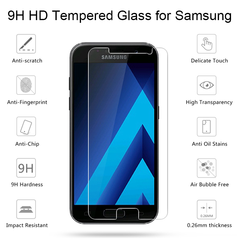 Screen Protector Film for <font><b>Samsung</b></font> A7 2018 A530F A730F Protective <font><b>Glass</b></font> for <font><b>Galaxy</b></font> A7 Tempered <font><b>Glass</b></font> for <font><b>Samsung</b></font> <font><b>A3</b></font> <font><b>2016</b></font> A5 2017 image