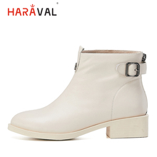 HARAVAL Fashion Luxury Genuine Leather Martin Boots Woman Winter Round Toe Square Heels Shoes Basic Soft Solid Buckle B232