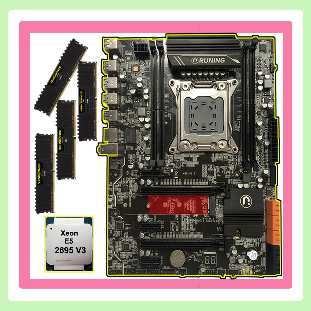 Discount Computer Hardware Runing X99 LGA2011-3 Motherboard With M.2 NVMe Slot CPU Intel Xeon 2695 V3 RAM 64G(4*16G) DDR4 2400