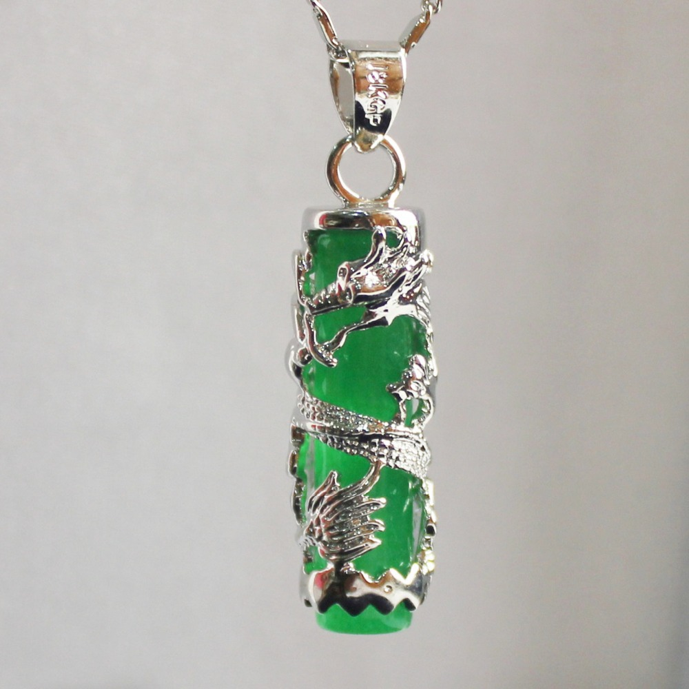 Natural Green Jade Dragon Pillar Pendant Necklace Charm Jewellery Fashion Accessories Hand-Carved Man Ahd Woman Luck Amulet Gift