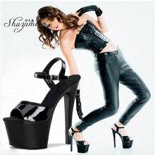 Sandalias de fondo grueso para mujer zapatos de plataforma de 13, 15, 17 y 20cm para niñas, zapatos de tacón altos para fiesta, zapatos de Stripper de baile de tubo de acero