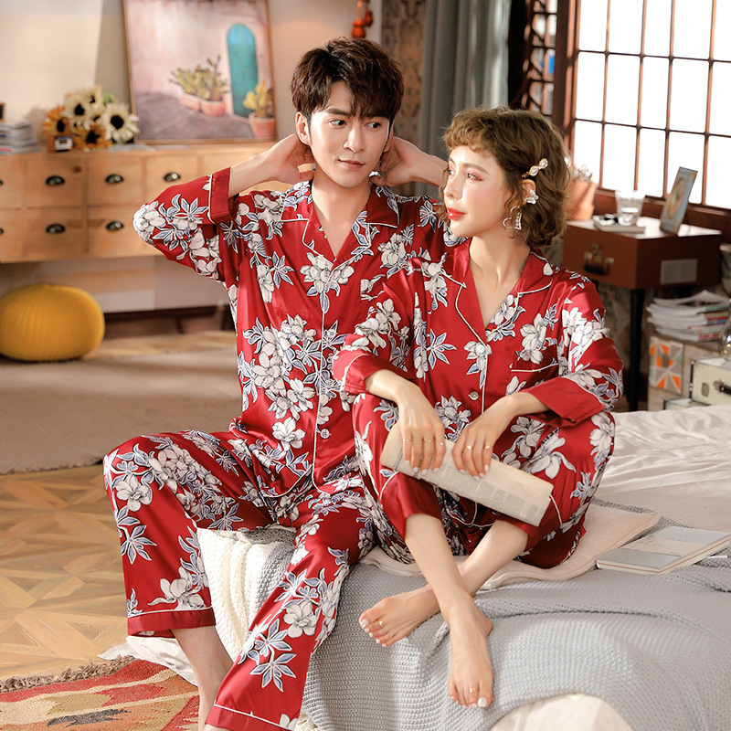 Men's Satin Silk Pajama Set Couple Silk Sleepwear Men Sexy Modern Style Soft Cozy Satin Nightgown Men Sets