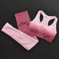 BraPantsGreen - Women's Sportwear Seamless Fitness Gradient Yoga Set