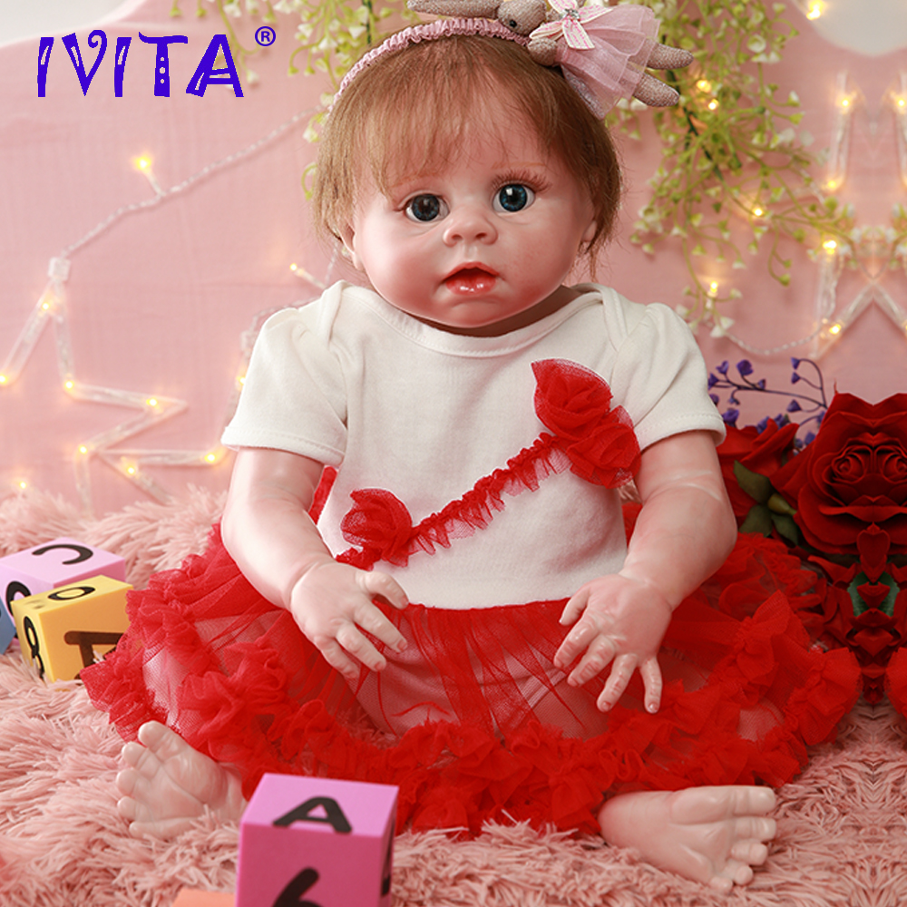 IVITA DS1812 full silicone reborn baby doll realista vinyl newborn <font><b>princess</b></font> with planted hair <font><b>toddler</b></font> girls toys for children image
