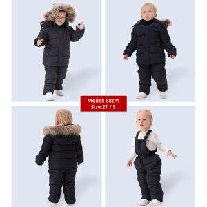 Image 2 - IYEAL רוסיה חורף חם בגדי ילדי סטים לבנים טבעי פרווה למטה כותנה שלג ללבוש Windproof סקי חליפת ילדי תינוק בגדים