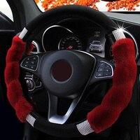 Steering Wheel Cover Imitation Rex Rabbit Fur Glitters Rhinestone Car Steerings Covers Accessories Styling