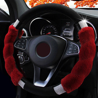 Steering Wheel Cover Imitation Rex Rabbit Fur Glitters Rhinestone Car Steerings Covers Accessories Styling