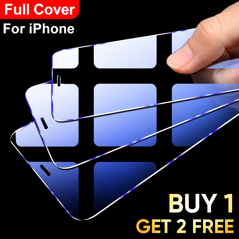3Pcs Full Cover Tempered glass on For iPhone 11 Pro Max iPhone X XR XS Max Screen Protector Transparent Protective Glass Film