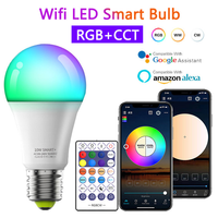 Bombilla Led inteligente RGB + CCT E27, control remoto inalámbrico, lámpara mágica, funciona con Alexa y Google Home, 9W, 10W, WiFi, 110V-220V