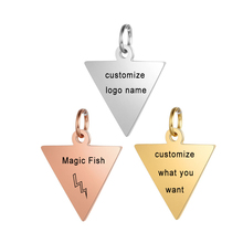 Customized Charms for Jewelry Making Gold Stainless Steel Triangle Pendant Engrave Logo Letter Diy Earring Bracelet Necklace Lot