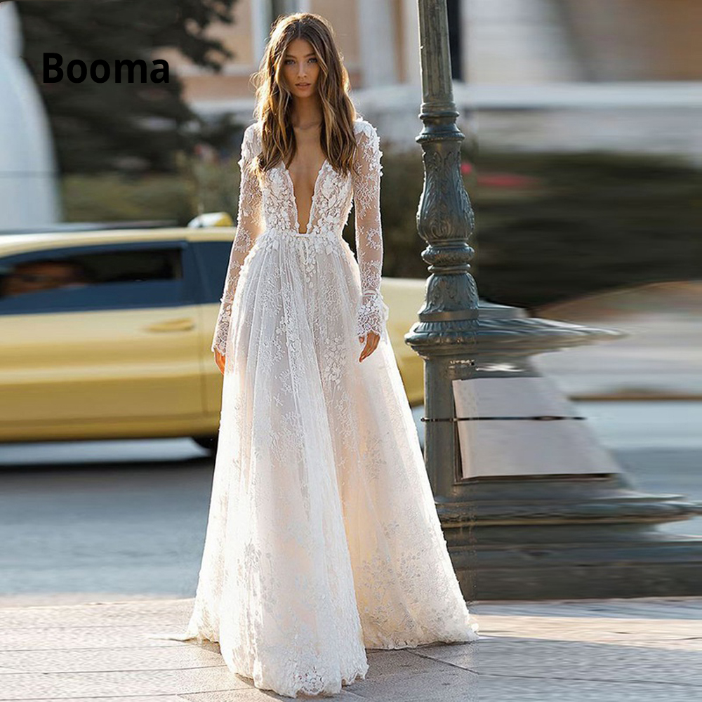 Booma Sexy Deep V-neck Long Sleeve Lace Wedding Dresses Boho 2020 Open Backless White Ivory Beach Bohemia Bridal Gowns Plus Size