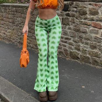 Za nadruk w kształcie serca spodnie rozkloszowane Sexy Casual Fashion Y2k Harajuku luźne spodnie 2021 lato wysokiej talii szerokie nogawki Streetwear spodnie damskie tanie i dobre opinie DZWONY spandex LOOSE Pełna długość NONE CN (pochodzenie) HIGH green GEOMETRIC Na co dzień SATIN Elastyczny pas WOMEN
