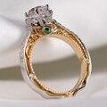 Huitan Luxury Classic 6 Claw Crystal Zircon Ring Women Wedding Jewelry Unique Two Tone Design Elegant Female Engagement Ring Hot