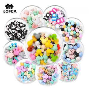 LOFCA 5pcs Cute Silicone Beads Food Grade Raccoon teether Animal BPA-Free Baby Teething Toy Pacifier Chain Accessories