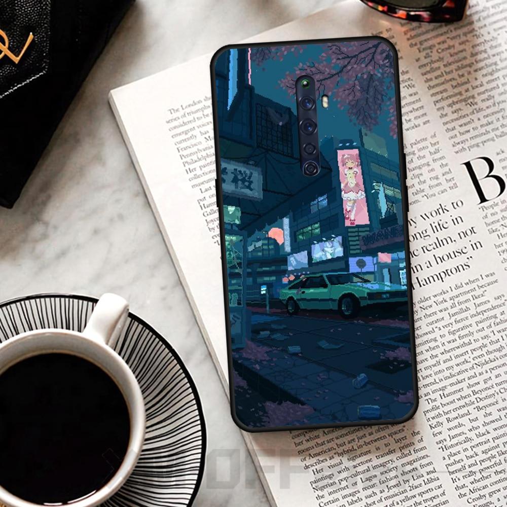 Reayou 車シーンイラスト黒 TPU ソフトラバー電話カバー Oppo リノ 2Z R15pro R17pro Realme 2 2pro 3 3pro 5 5pro C2
