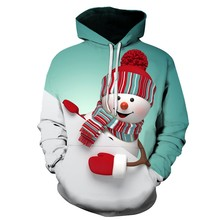 Unisex Hoodies Streetwear Casual Fashion Christmas Snowman Print hip hop Hoodie Sweatshirt Pullover Free Shipping