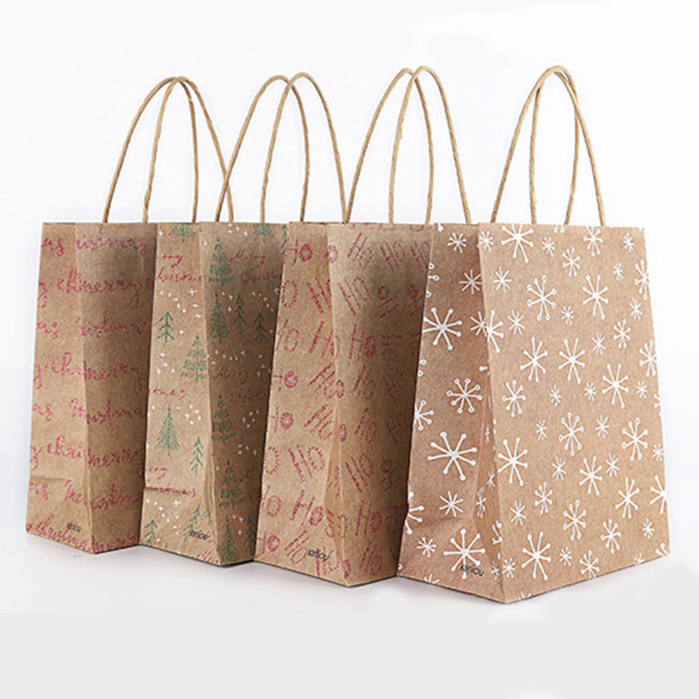 12 pcs set New Year Christmas Kraft Paper Gift Bags Kids Party Shopping High end Portable Packaging Gift Bag Random in Gift Bags Wrapping Supplies from Home Garden