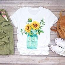 Женская Пляжная футболка с коротким рукавом и цветочным принтом
