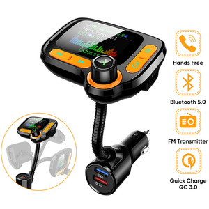 JINSERTA QC3.0 Charger EQ Mode Car Bluetooth 5.0 FM Transmitter Handsfree 1.77