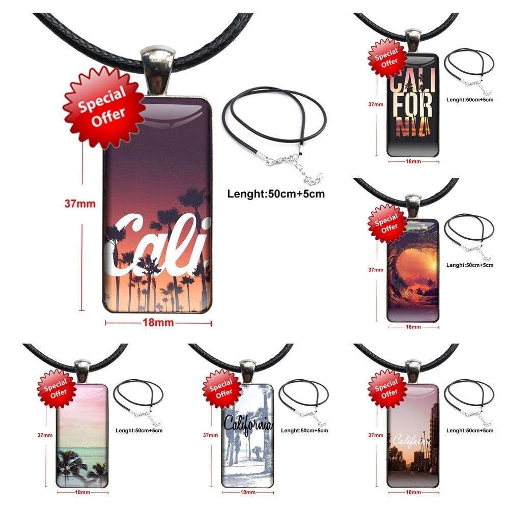 Калифорния путешествия покупателей высокое качество распродажа ожерелье Мода длинная цепь с прямоугольное ожерелье ювелирные изделия для...